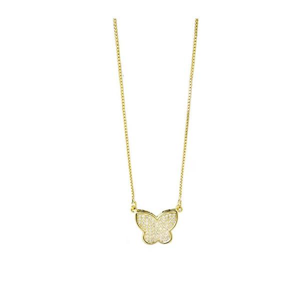 Colar Borboleta Semijoia Banho de Ouro 18K Cravejado com Zircônias Detalhe em Ródio