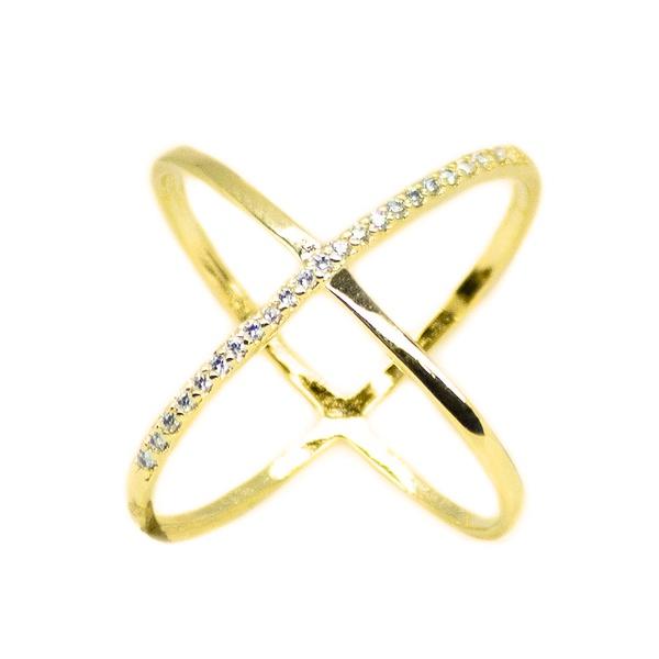Anel X Semijoia Banho de Ouro 18k Cravação de Zircônia