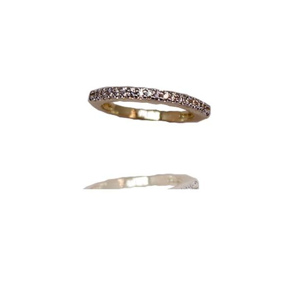 Anel Aparador De Aliança Semijoia Banho De Ouro 18k Cravação De Zircônia Detalhe Em Ródio