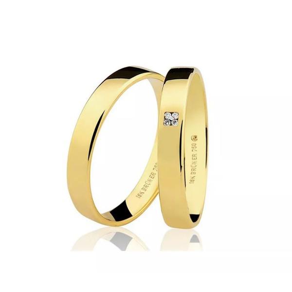 Aliança Lisa em Ouro 18k com 3,5 mm de Largura Anatômica Quadrada Com 4 Diamantes