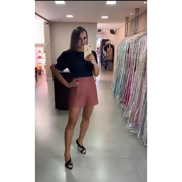 Shorts Couro Canela