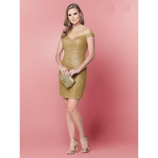 Vestido Embroidery Dourado
