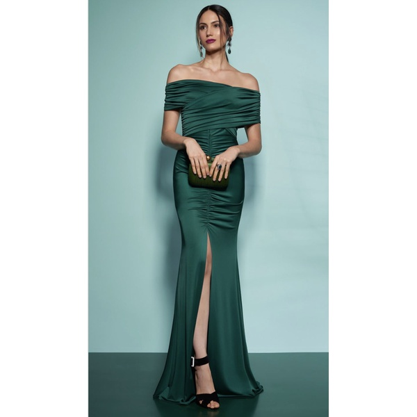 Vestido Jersey Decote Verde