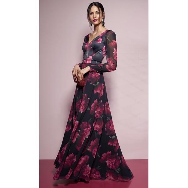 Vestido Peônia Preto Com Pink