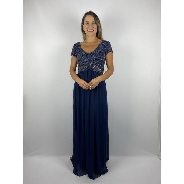 Vestido Crepe Bordado Azul Marinho