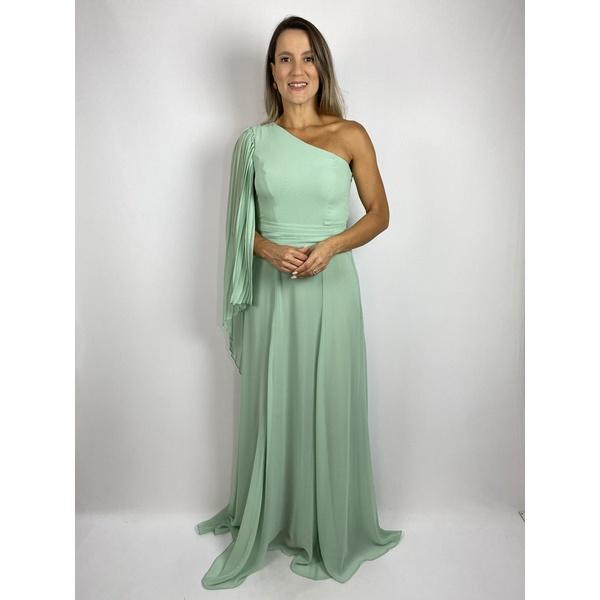 Vestigo Chiffon Manga Plisse Verde Agua