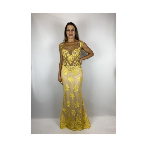 Vestido Justo Renda Amarelo