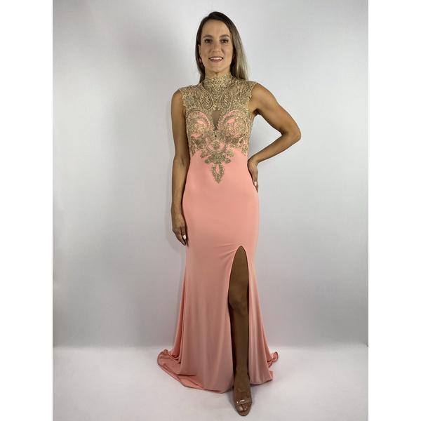 Vestido Gola Alta Pêssego