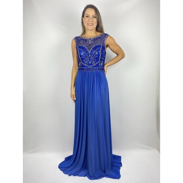 Vestido Evasê Bordado Azul Royal