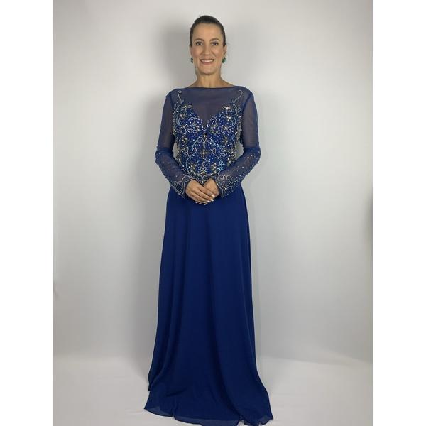 Vestido Corpete Bordado Azul