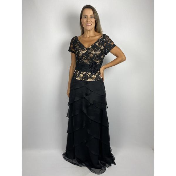 Vestido Crepe Camadas Preto Com Bege