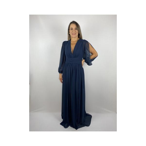 Vestido Crepe Azul Marinho