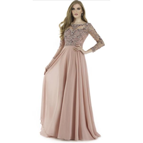Vestido Longo Bordado com Pedras Rose
