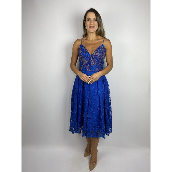 Vestido Midi Com Renda Bordada Azul
