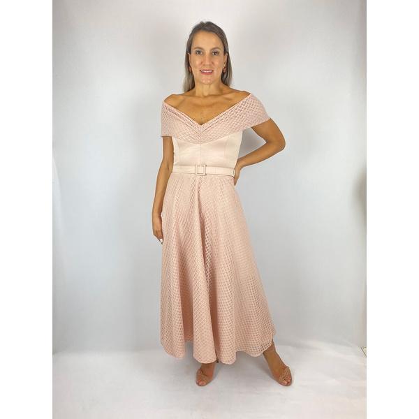 Vestido Midi Tule Rosa