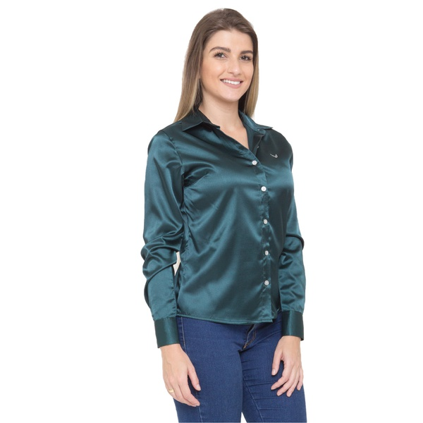 Blusa de Cetim Verde Feminina C/ Elastano Améllie