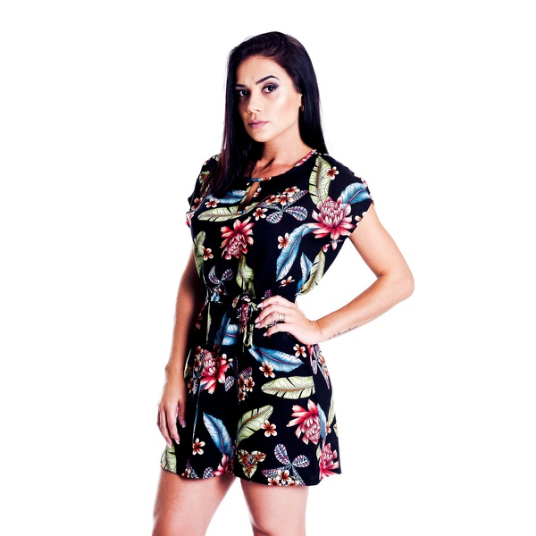 Vestido Pimenta Rosada Diane Floral Preto
