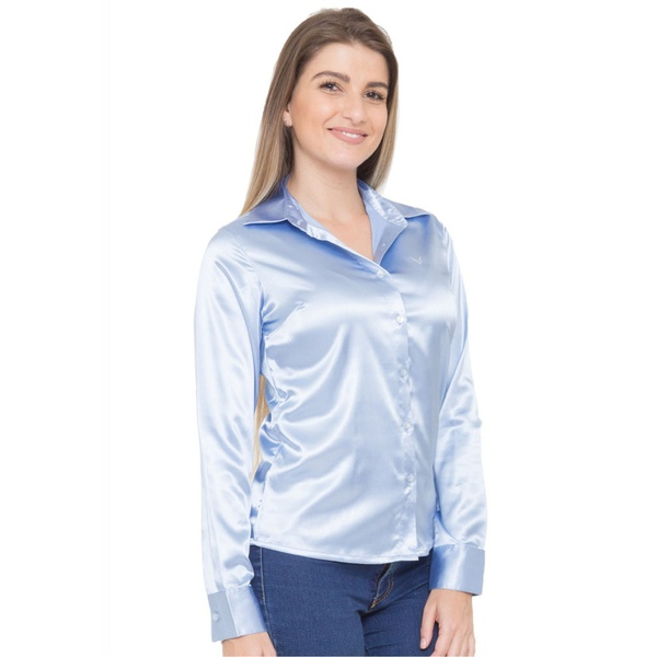 Blusa de Cetim Azul Clara Feminina C/ Elastano Aqua