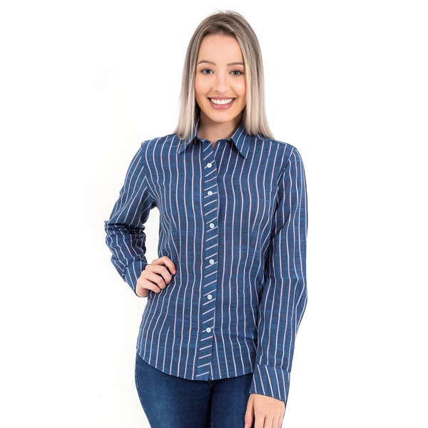 Blusa Feminina Listrada Azul Manga Longa Noeli