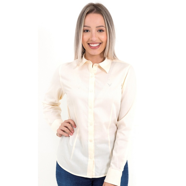 Camisa Amarelinha Clara Social Feminina Manga Longa Alicia