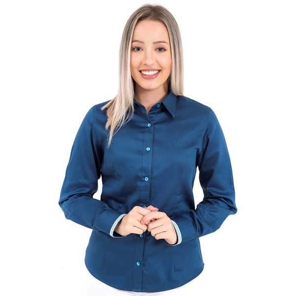 Camisa Azul Feminina Manga Longa Prince
