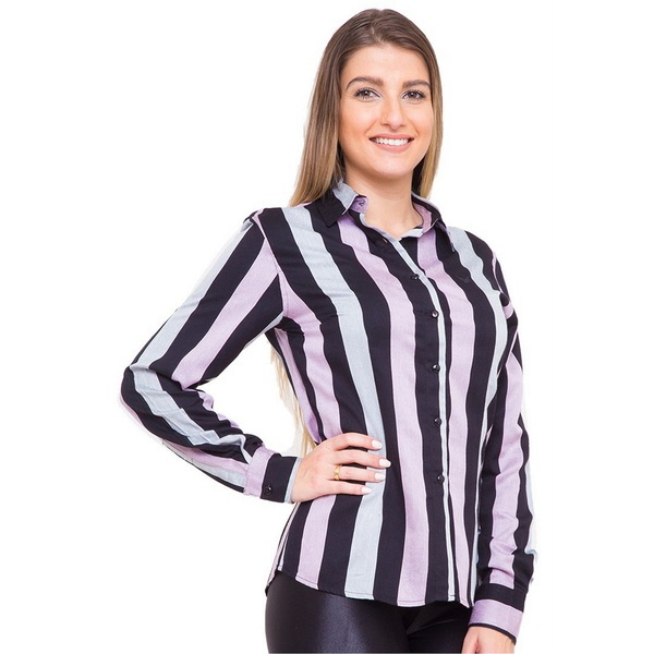 Camisa Feminina Listrada Viscose Manga Longa Laila