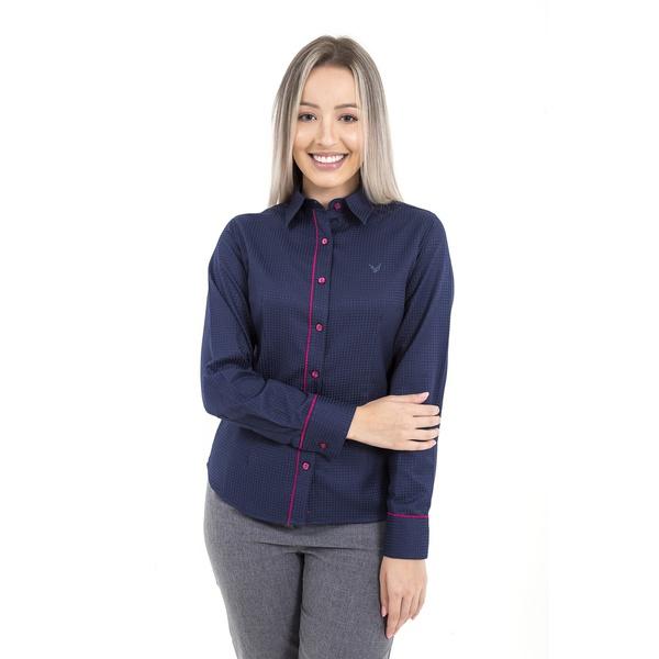 Camisa Feminina Social Azul Manga Longa Valência