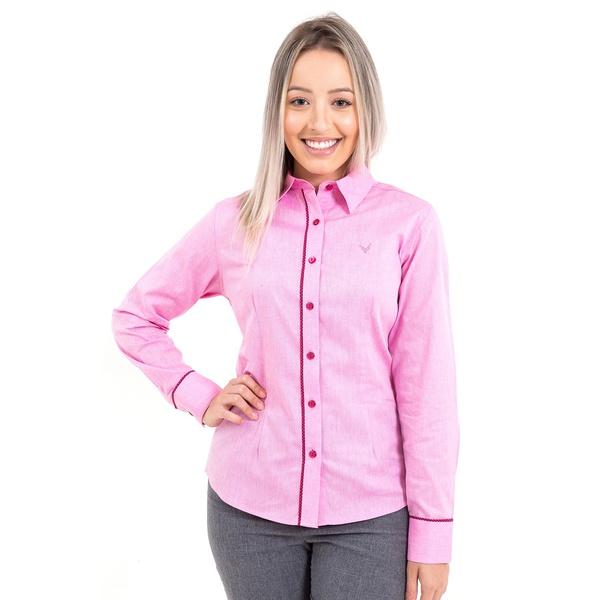 Camisa Feminina Social Denim Rosa Manga Longa Vicenza