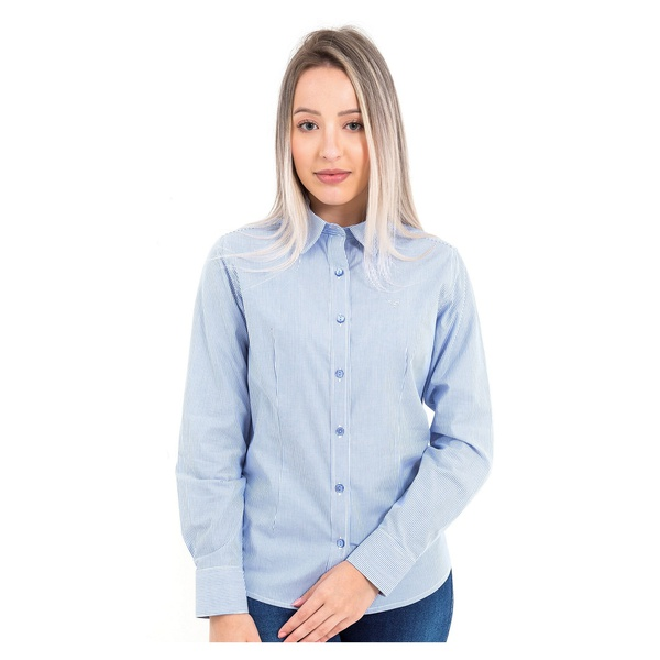 Camisa Feminina Social Listrada Manga Longa Parma