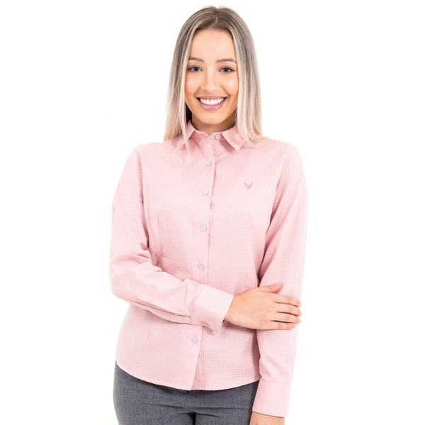 Camisa Feminina Social Rosê Claro Manga Longa Vittoria