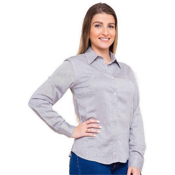 Camisa Prata Feminina Viscose Manga Longa Bettina