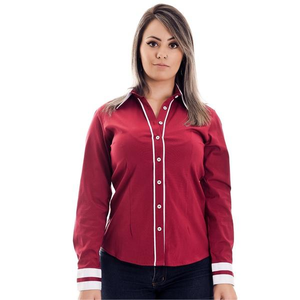 Camisa Vermelha Social Feminina Manga Longa Carola