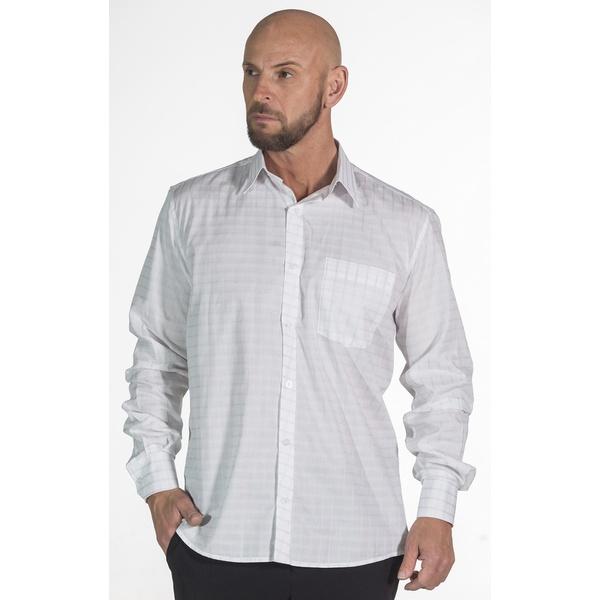 Camisa Xadrez Branca Social Manga Longa Masculina Tom