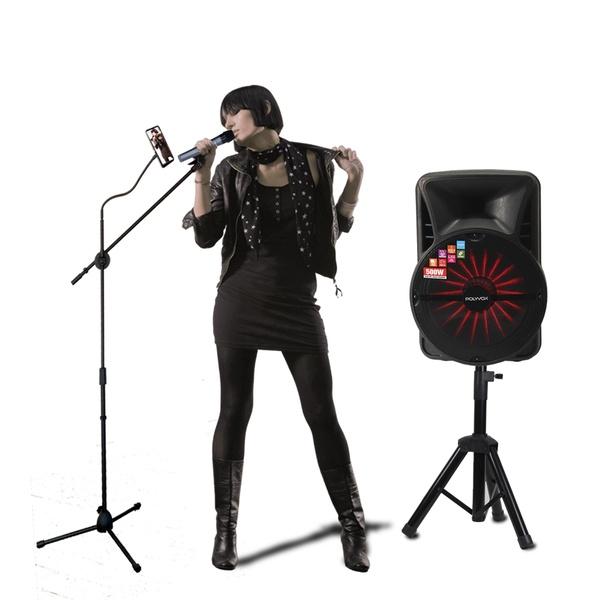 Kit Show Polyvox com Caixa Amplificada XC-515 + Tripé para Caixa + Dois Microfones sem Fio + Pedestal para Microfone com Suporte para Celular