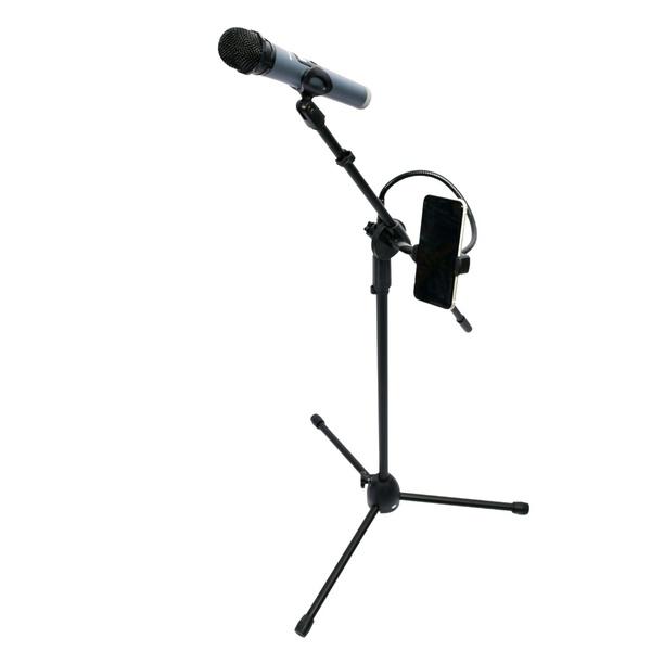 Pedestal Polyvox para Microfone Universal com Ajuste de Altura e com Suporte Articulado para Celular