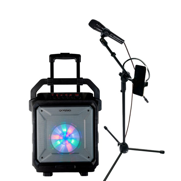 Kit Caixa de Som Polyvox XB-450 200W + Pedestal P/ Microfone