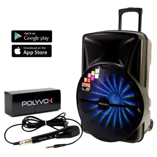 Caixa De Som Amplificada Xc-518 Polyvox Bluetooth 1200W com Microfone com Fio Polyvox