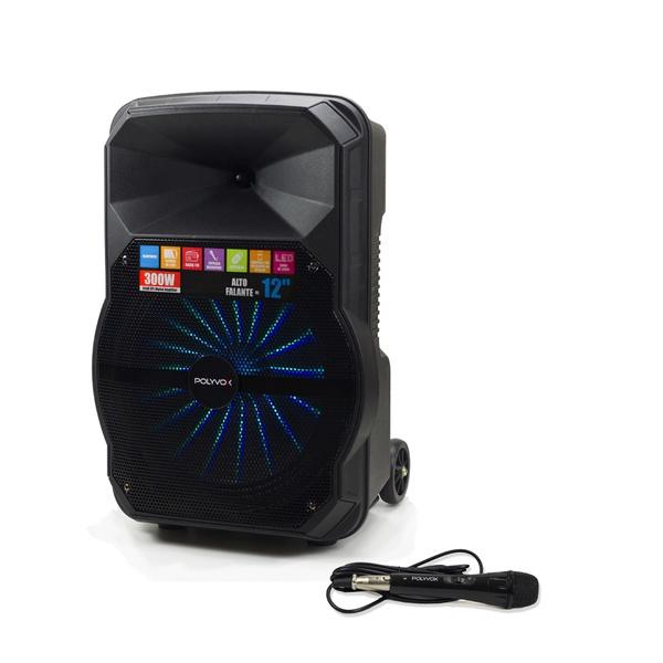 Caixa De Som Amplificada Xc-512 Polyvox Bluetooth Usb 300w + Microfone com fio Polyvox