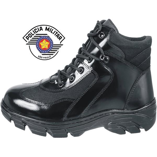 Bota Cano Curto Padrão Pm Militar Borzeguim Em Couro Alto Brilho.
