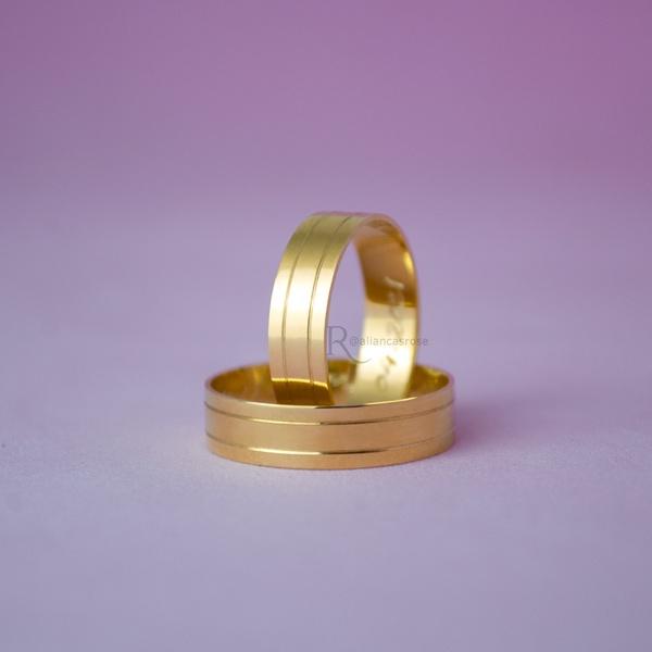 Alianças de Ouro 18K 5mm 5 gramas Modelo Siena
