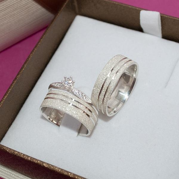 Combo Par de aliança de prata 950 6mm modelo Gêmeos + Solitário prata modelo lux