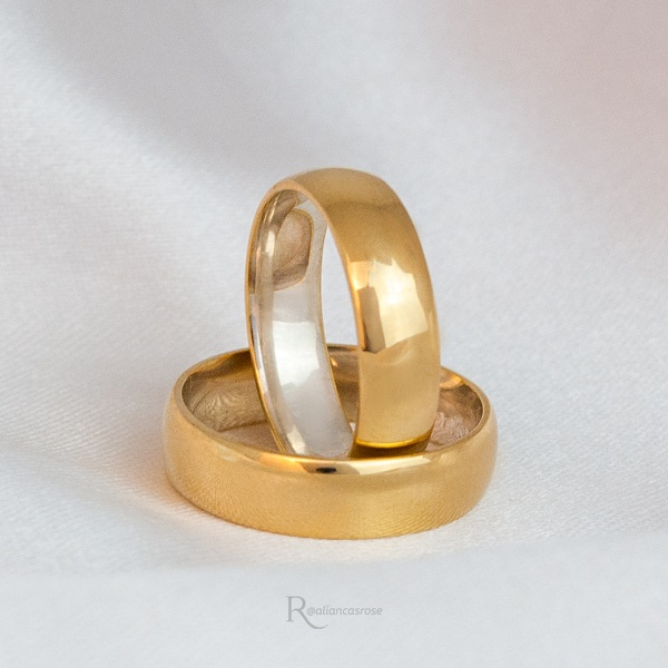 Aliança Ouro 18K e Prata 5mm 8 gramas Modelo Santoro