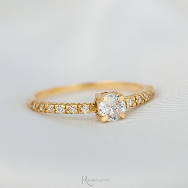 Anel Noivado Ouro 18K Modelo Mi Amour
