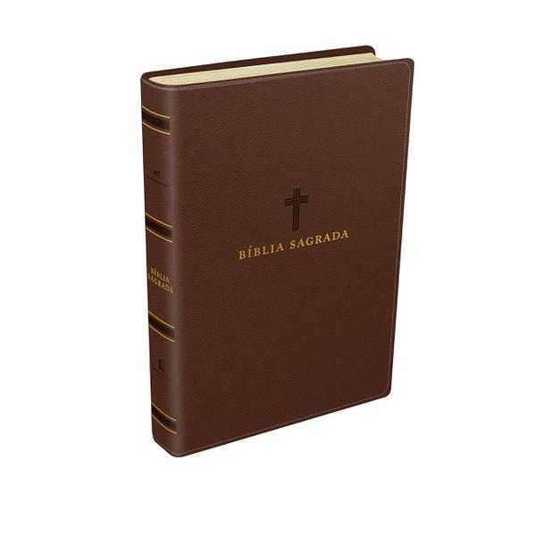 Bíblia Sagrada Couro Soft, Marrom - Letra Grande,