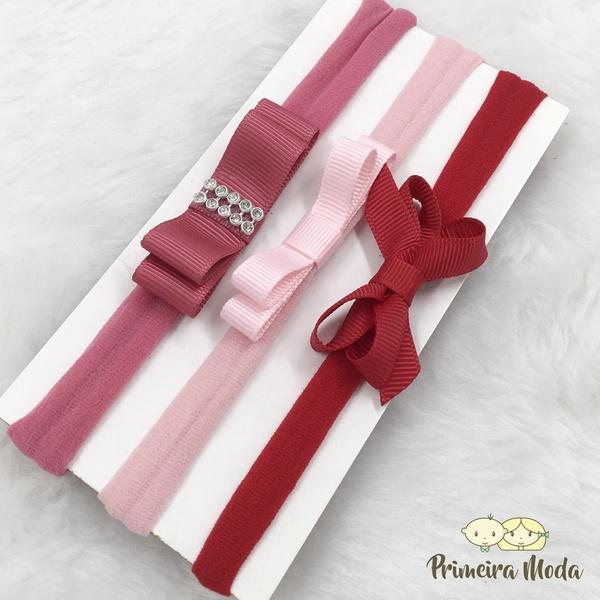 Kit Faixa para bebê Triplo Chanel Vermelho