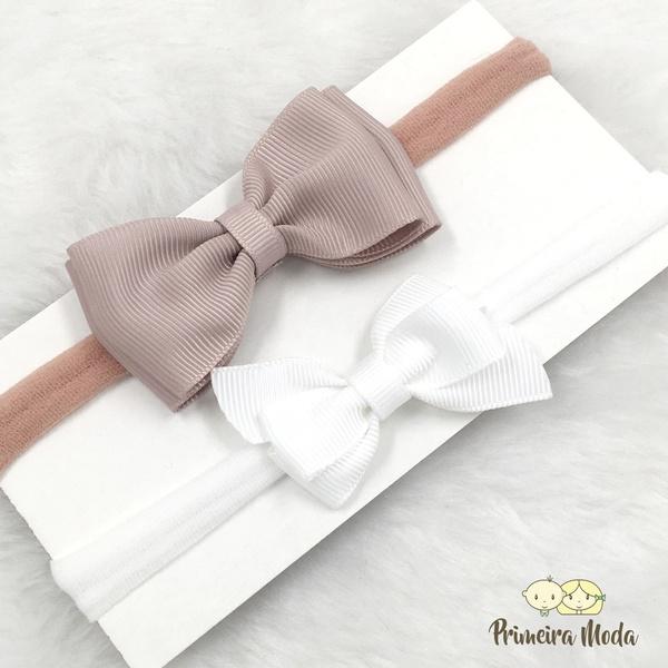 Kit Faixa para bebê Duplo Gravatinha Marrom