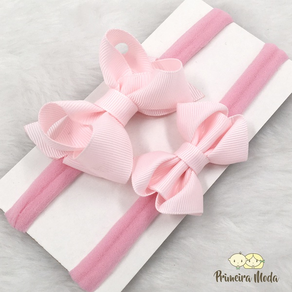 Kit Faixa para bebê Duplo Docinho Rosa