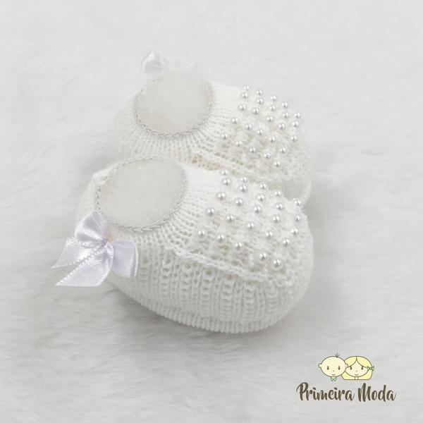 Sapatinho De Tricot Pérola Branco