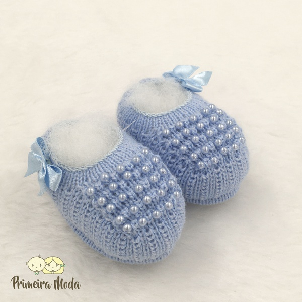 Sapatinho De Tricot Pérola Azul Bebê