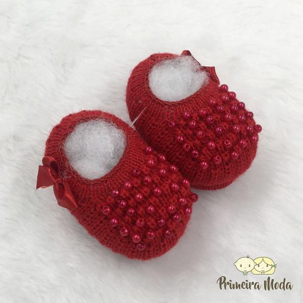 Sapatinho De Tricot Pérola Vermelho
